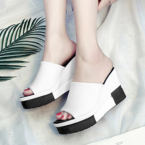 Femeninas Palabra Zapatillas Thick LHA 2018 Fish Fashion Summer con Cool Mouth Nuevo CN34 Color EU35 Cool Drag Cake Tamaño Wild Blanco Negro Loose Shoes Bottom Slope Wear UK3 qvwXrTOYw