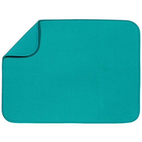 "S&T XL Microfiber Dish Drying Mat, 18"" x 24"", Teal"