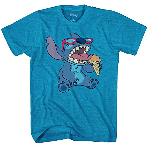 Disney Lilo and Stitch Ice Cream Cone Tee Funny Humor Disneyland Graphic Adult T-Shirt(Heather Turquoise,Large)