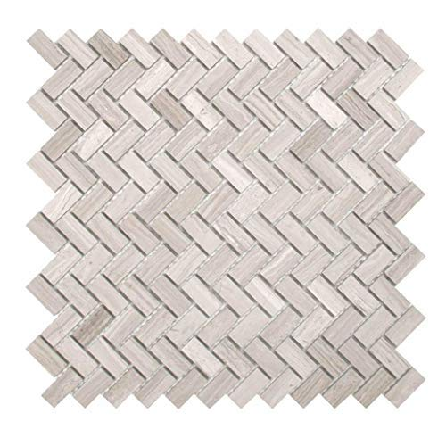 Maykke Sadie 10 Pack Small Chevron Mosaic Wall And Floor Tile 12 X 12 Herringbone Pattern Kitchen Bathroom Laundry Room Backsplash Flooring Fade Resistant Wooden White Marble Yoa1050202 Amazon In Home Improvement