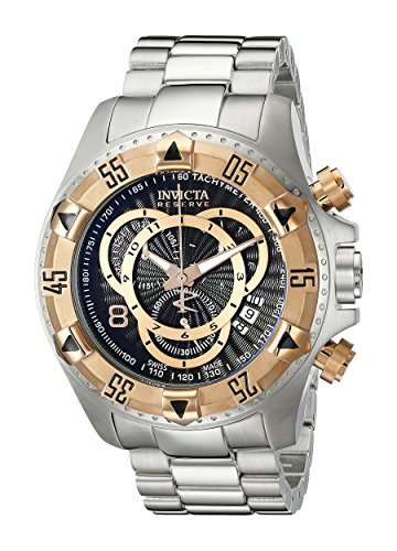 Excursion Black Dial - Invicta Men's 10998 Excursion Reserve Chronograph Black Textured Dial Stainless Steel Watch