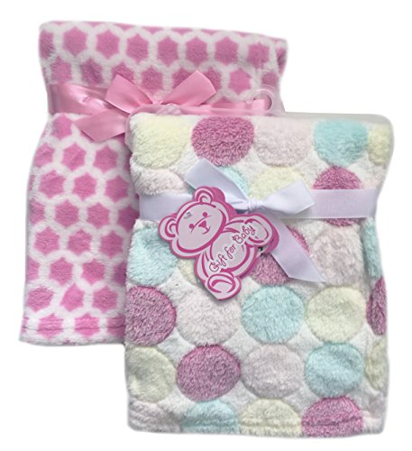 2-Pack of Super Soft Plush Lightweight Furry Fleece Sherpa Quilt Polka Dots Pink Stars Girl Baby Blanket Gift Set (Quilt Sherpa Fleece)