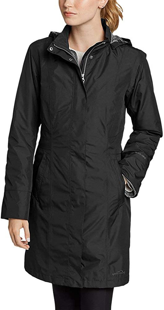 Eddie Bauer Womens Girl On The Go Insulated Trench Coat Black Regular S