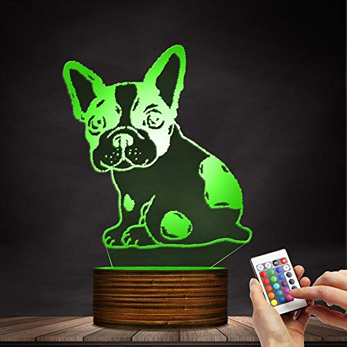 Novelty Lamp, Optical Illusion 3D LED Lamp Night Light French Bulldog, USB Powered Remote Control Changes The Color of The Light, Bedroom Table Lamp, Children's Gift, Home Decoration,Ambient Light by LIX-XYD (Image #4)