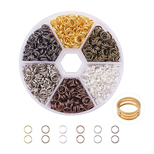 PandaHall Elite 700 Pcs Iron Split Rings Double Loop Jump Ring Diameter 6mm 1 Box Mixed Color for Jewelry Making