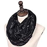 IvyFlair Women\'s Music Notes Fashion Infinity Loop Circle Scarf, Black