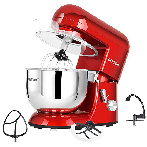 (CHEFTRONIC Tilt-head Stand Mixers SM-986 120V/650W 5.5qt Bowl 6 Speed Kitchen Electric Mixer)