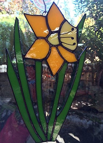 Spring Daffodil Stained Glass Window Hanging - Stained Glass Daffodil