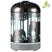 Essential Oil Diffuser -120ml Cool Mist Humidifier -14 Color LED Nihgt lamps -Crafts Ornaments All in One is The Round Rich Upgrade Whisper-Quiet Ultrasonic Metal Elephant Humidifiers US 120V