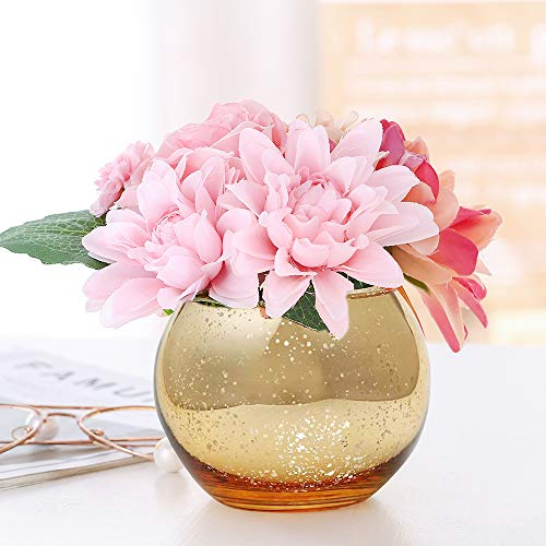 Lynnsdecor Set of 3 Bling Vase Round Golden Vase Silver Vase Rose Gold Vase Table Vase Party Vase Wedding Vase Centerpiece (Golden, Large)