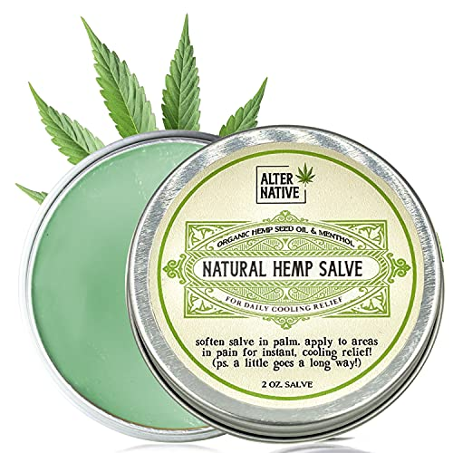 Hemp Oil Salve For Instant Cooling Relief - Made From Organic Hemp Seeds Extract - Natural Balm For Men & Women By Alter Native - Made In The USA - 2 oz
