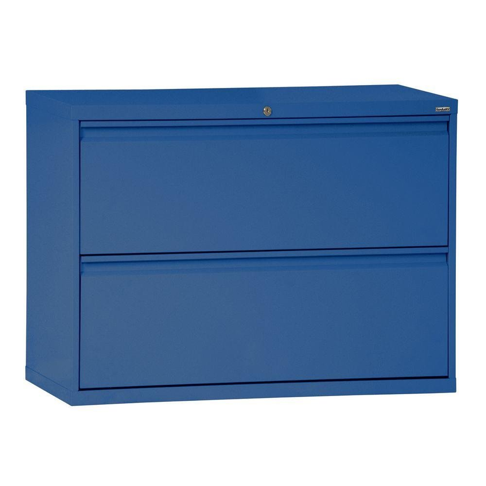 19.25 Depth x 28.375 Height x 36 Width Blue Sandusky Lee LF6A362-06 600 Series 2 Drawer Lateral File Cabinet