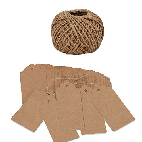 BoNaYuanDa 120 PCS Kraft Paper Christmas Gift Tags with String Vintage Gift Tag Wedding Favor Hang Tags with 100 Feet Natural Jute Twine Retangle Hanging Tags for Crafts & Price Tags Labels