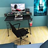 Gaming Desk with Cable Management System and Charging Station, Fits 27-inch Monitor, Speaker Trays & Drawer for Additional Storage Space, Sturdy Metal and Composite Wood Construction, Black Finish