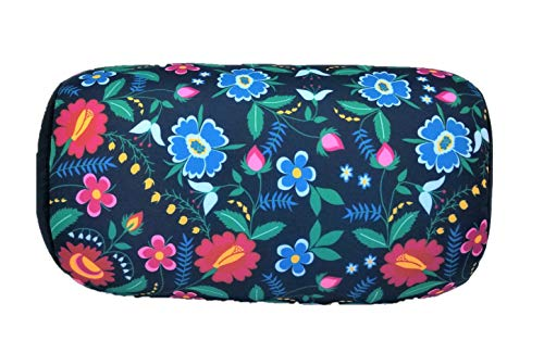 (Bookishbunny Micro Bead Bolster Tube Pillow Special Holiday Pattern - Squishy and Cool Fabric, Odorless Hypoallergenic 11.8 x 6 x 7 (Flower Pattern))