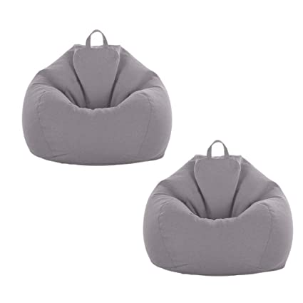 Cool Amazon Com Flameer 2Pcs Grey Sofa Bean Bag Cover Big 90Cm Ibusinesslaw Wood Chair Design Ideas Ibusinesslaworg