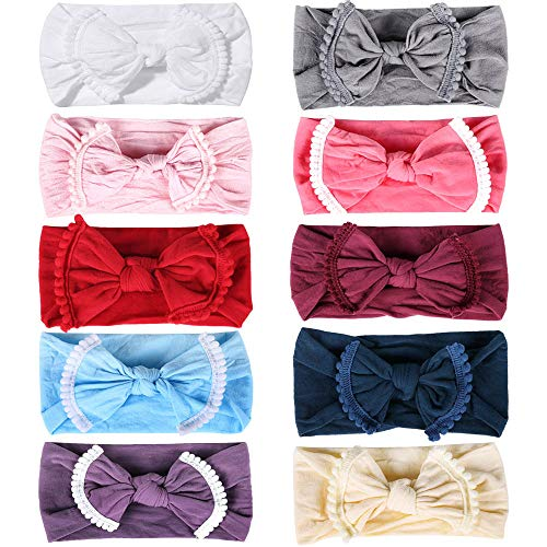 "Kidmi Baby Headbands 13"" Girl Turban Knotted Hair Nylon Elastic Pompom Ball Bow Accessories Soft Stretchy Cotton Headwrap for Newborn Toddler Infant Kids Children Pack of 10"
