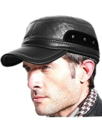 Winter Leather Cap with Earflap Military Cadet Army Flat Top Hat Outdoor