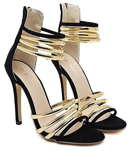 Aisun Women's Fashion Open Toe Ankle Cuff Strappy Zipper up Stiletto High Heel Sandals Black rwt3MMmK