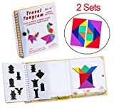USATDD Tangram Game 360 Magnetic Puzzle Travel Games Jigsaw with Solution Questions Kid Adult Challenge IQ Book Colorful Shapes Educational STEM Toy for Baby Toddlers Kids 3+ 【2 Set of Tangrams 】