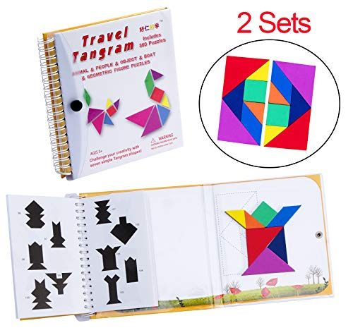 USATDD Tangram Game 360 Magnetic Puzzle Travel Games Jigsaw with Solution Questions Kid Adult Challenge IQ Book Colorful Shapes Educational STEM Toy for Baby Toddlers Kids 3+ 【2 Set of Tangrams 】 (Best Travel Games For Toddlers)