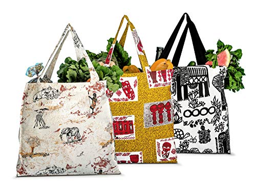 Reusable, Eco-friendly, 100% Natural Cotton Hand Made Cloth Shopping & Grocery Bags - Strong, Durable, Washable Cloth Grocery Tote Bags (Mixed Colors, 3)