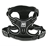 Safety Front Range No-Pull Dog Harness,3m Reflective Vest with Easy Control Handle and Leash Attachment,3 Stylish Colors and 4 Sizes. (L, Black)