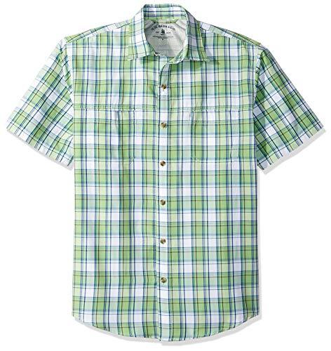 G.H. Bass & Co. Men's Explorer Short Sleeve Fishing Shirt Plaid Button Pocket, Grass Green 2, XX-Large