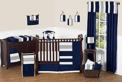 Modern Navy Blue and Gray Stripe Print Boys Baby Bedding 11 Piece Crib Set without bumper by Sweet Jojo Designs that we recomend individually.