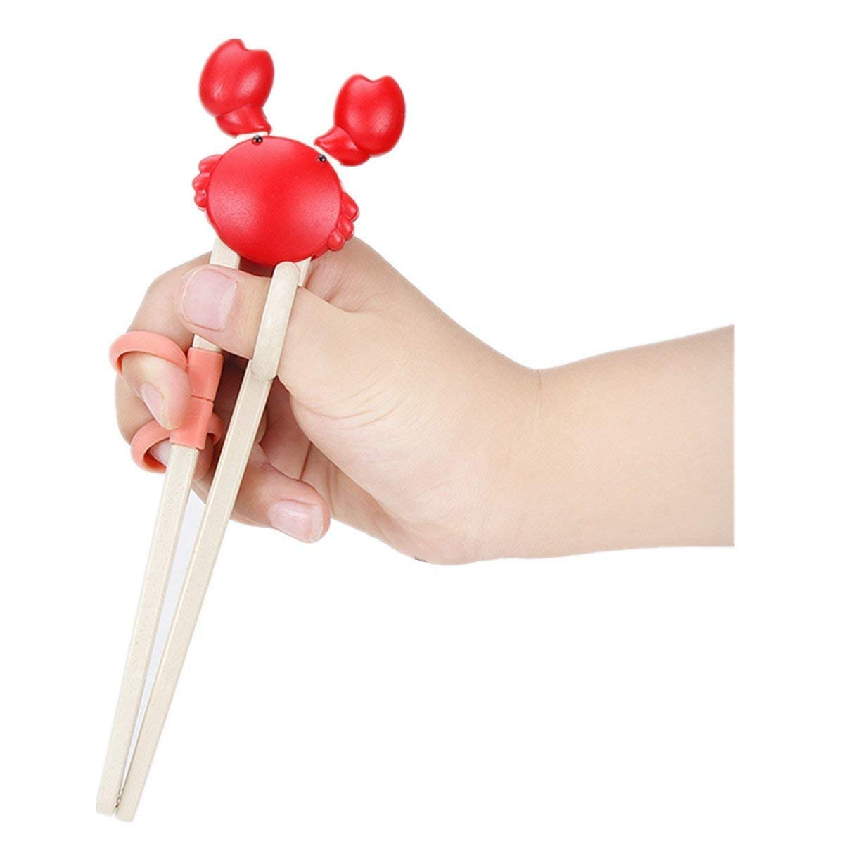 HOLYMOOD 1 Pair Rice Husks fully degradable Chopsticks Cute Crab Learning Training helper Chopsticks for kids Washable reusable Non-slip 19cm ecofriendly Baby kitchenware