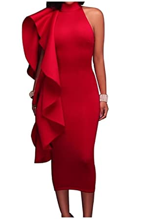 0fe799a1ce Tootless Women Cut Out One Shoulder Flounced Cocktail Bodycon Party Dress  Red XS