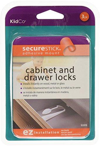 Adhesive Mount Drawer - KidCo Adhesive Mount Cabinet & Drawer Lock 3 Pack, White