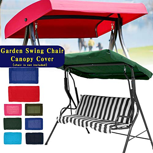 (KINGSO Swing Top Cover Waterproof Anti-UV Swing Canopy Replacement for Porch Patio Garden Pool Seat Forest Green 2 seat)
