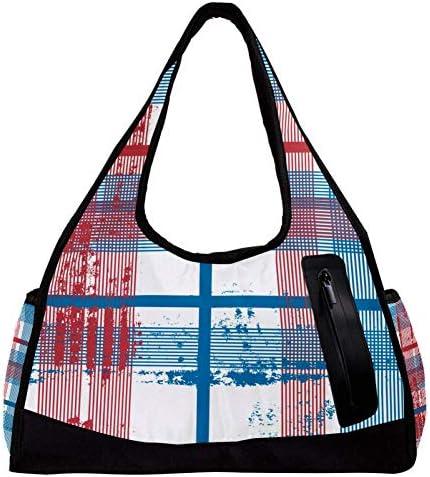 スポーツバッグ 旅行カバン ストライプ チェック柄 収納 レディース メンズ ランニング フィットネス ヨガ 大容量 修学旅行 部活 プールバッグ