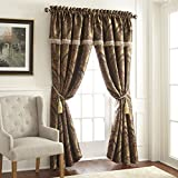 Cheap Chezmoi Collection Seville 4-Piece Jacquard Black Gold Maroon Red Medallion Paisley Window Curtain/Drape Set Sheer Backing,Tassels, Valance