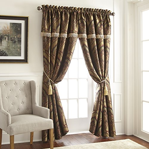 Chezmoi Collection Seville 4-Piece Jacquard Green Gold Maroon Medallion Paisley Window Curtain/Drape Set Sheer Backing,Tassels, Valance