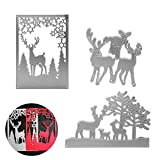 3Pcs Animal Dies Cut Cutting Die, Creatiee Metal Embossing Stencils|Stencil Template Mould| DIY Craft Scrapbooking for DIY Embossing Photo Album Decorative DIY Paper Cards (Elk Family)