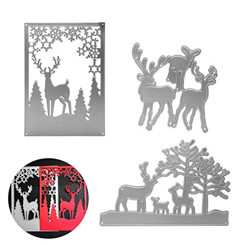 Animals Die - 3Pcs Animal Dies Cut Cutting Die, Creatiee Metal Embossing Stencils|Stencil Template Mould| DIY Craft Scrapbooking for DIY Embossing Photo Album Decorative DIY Paper Cards (Elk Family)