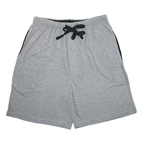 Mens Cotton Jersey Short (Hanes Men's Jersey Knit Cotton Button Fly Pajama Sleep Shorts, Large, Grey)