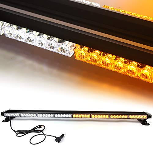 (48'' 102 LED 7 Flash Mode Traffic Advisor Four Side Rooftop Emergency Hazard Warning Strobe Light with Four Strong Magnetic Base, 102W, IP65 Waterproof for Snow Plow, Trucks or Construction Vehicles)