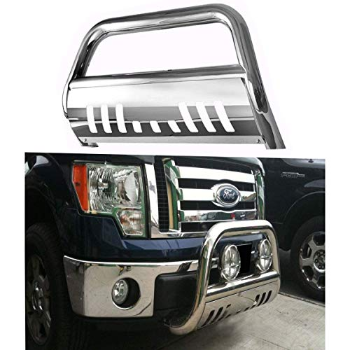 (Span Bull Bar Skid Plate Front Push Bumper Grille Guard Stainless Steel Chrome for 2008 2009 2010 Ford F250,F350,F450,F550 Super Duty)