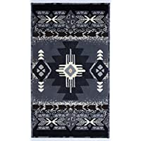 Southwest Native American Indian Door Mat Area Rug Design in Western Style Grey 318 Grey 2X34