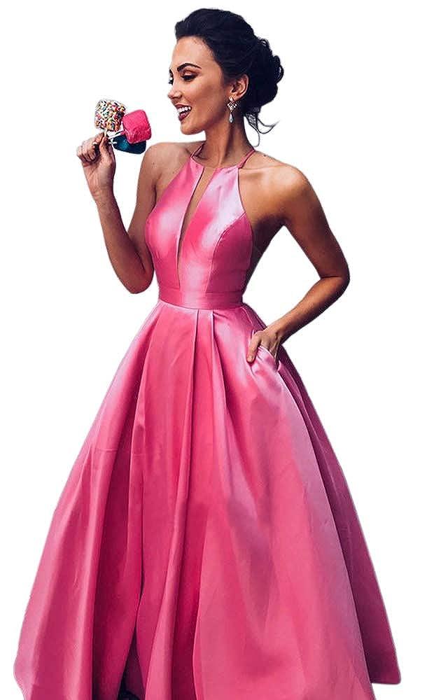 Hot Pink Dressylady Women's A Line Halter Sleeveless Satin Long Prom Dress with Pockets