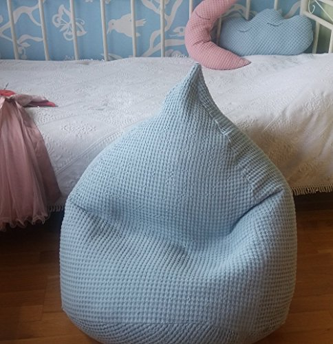 Softened Linen Waffle Textured Bean Bag Chair Cover Nursery Decor Baby blue Kids soft Seating Vintage Look Natural Pouf Baby shower Gift Toddler Room Furniture