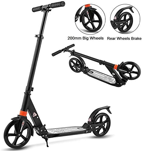 Aceshin Scooter for Adults,Teens,Kids, 200mm Big Wheels Kick Scooter Easy Folding Lightweight Height Adjustable Dual Suspension Shoulder Strap Rear Fender Brake,220lbs Weight Capacity