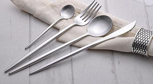 12 Pack Stainless Steel Flatware Set Knife Fork Dinner Soup Spoon Dessert Tea Server 4-Piece Set for Home Kitchen Restaurant Hotel ( Silver) by C&L