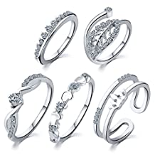 Newyuan 5pcs/set Gold Silver Plated Crystal Leaf Crown Heart Knuckle Midi Rings Wedding Gifts for Women Girls 22F27