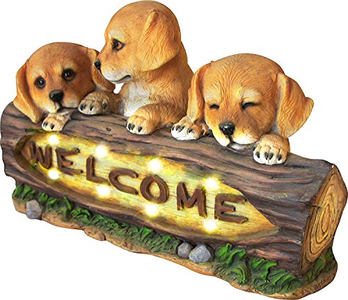 Welcome Dog Sign (Welcome Statue with Solar Powered LED Lights, 15 Inch Puppy Dog Holiday Outdoor Garden Yard Decoration lighted figurines)