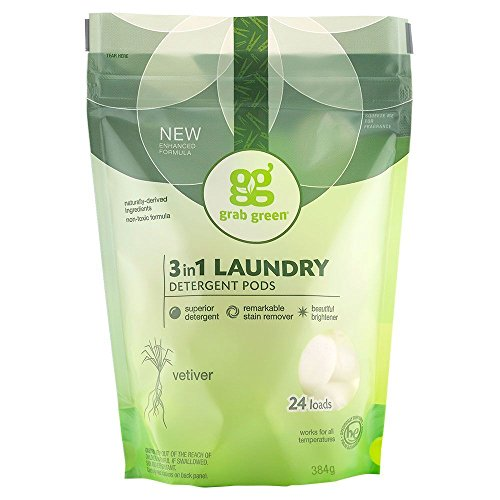 Grab Green Natural 3 in 1 Laundry Detergent Pods, Organic Enzyme-Powered, Plant & Mineral-Based, Vetiver-With Essential Oils, 24 Loads, 13.5 Ounce