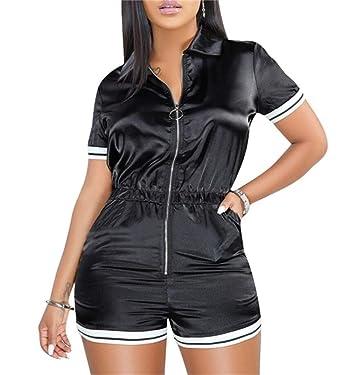 f47759a85cc Women s Sexy Stripe Short Sleeve Zipper Short Pants Bodycon Jumpsuit Rompers